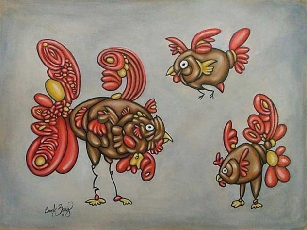 La Mama y sus Pollitas Otros Lienzo Acrílico