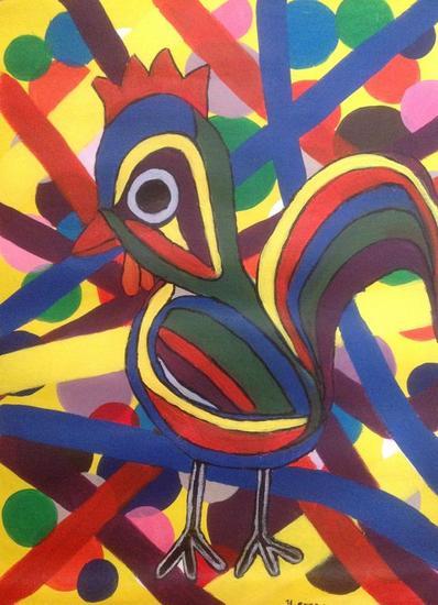 Pájaro multicolor Otros Acrílico Lienzo