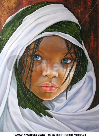 Niña de Africa 95 Lienzo Óleo Retrato
