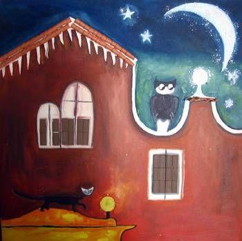 La noche del Tecolote y el Gato Óleo Lienzo Animales