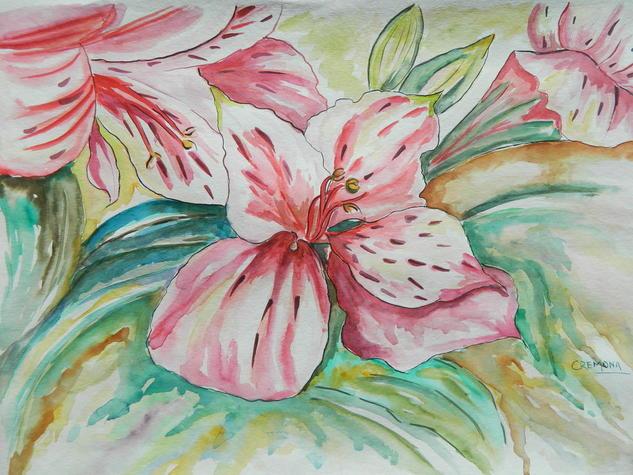 Asromelias I Papel Floral Acuarela