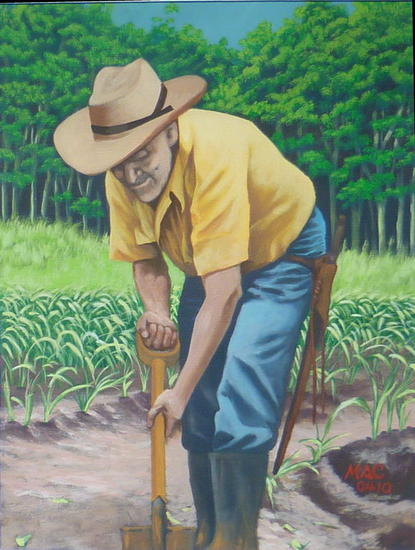 El viejo palero Acrylic Canvas Figure Painting