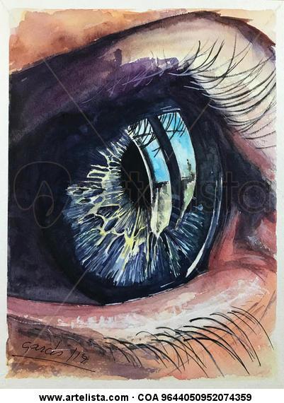 Reflejos en azul Cartulina Acuarela Retrato