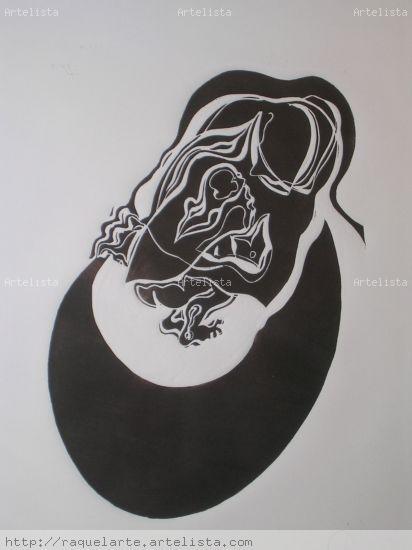 Maternidad Linograbado