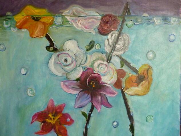 Flores sumergidas Lienzo Óleo Floral