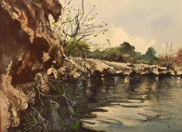 La roca Paisaje Acuarela Papel