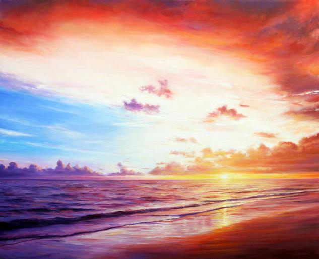 Romantic Sunset Lienzo Óleo Marina