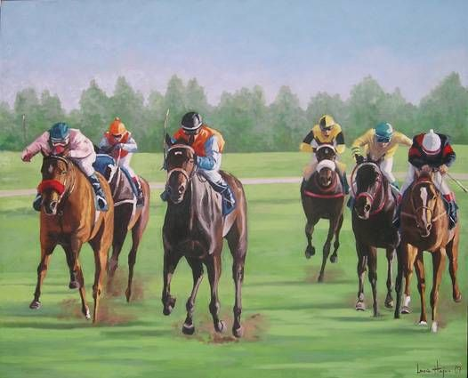 Carrera de caballos Oil Canvas Sports