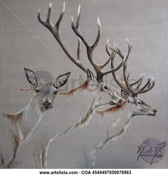 Deers and Doe transparency Animales Óleo Tela