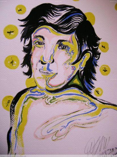 El cantante Gouache Papel Figura