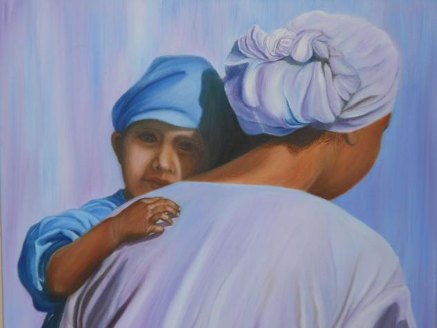 MATERNIDAD EN SUDAMERICA Lienzo Óleo Retrato