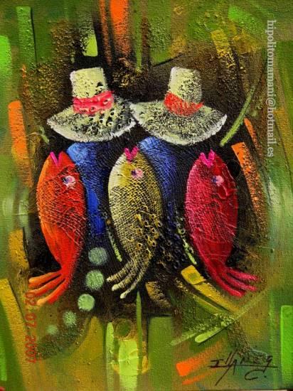 peces del paraìso/ Paradise fish/le paradis des poissons/Paradies für Fische Óleo Lienzo Figura