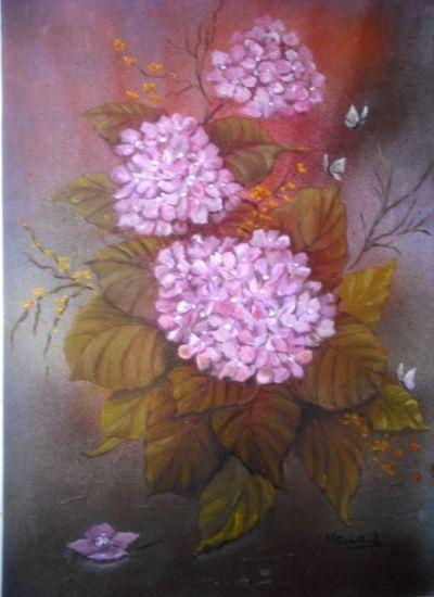 HORTENSIAS Óleo Papel Floral