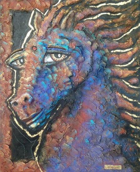 The horseman Media Mixta Animales Tela