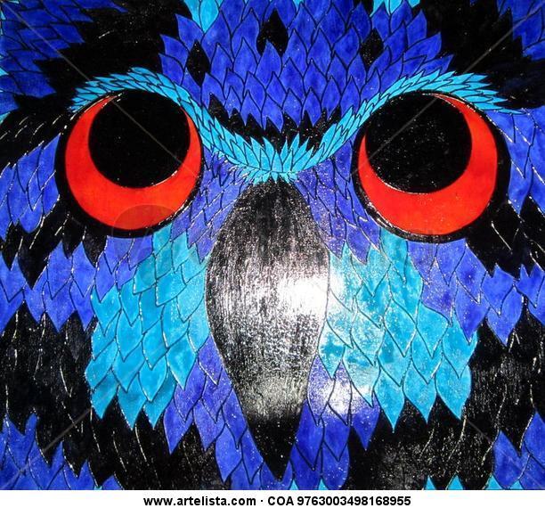 Buho Viejo Azul Otros De vidriera Animales