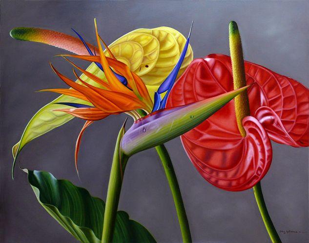 Anturias con Ave del paraíso Óleo Lienzo Floral