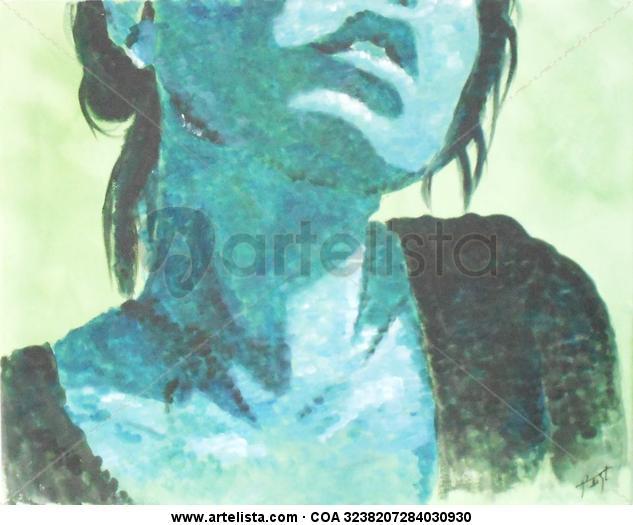 Mujer azul Retrato Acrílico Lienzo