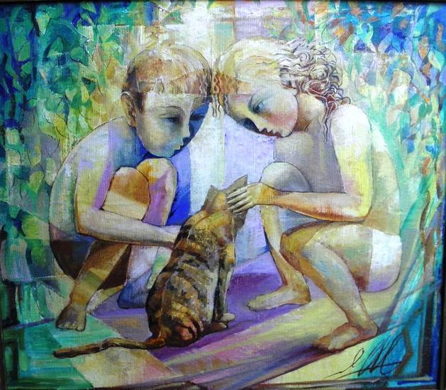 happy Childhood Lienzo Óleo Figura
