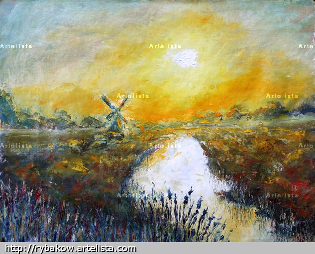 Original oil painting Beautiful Autumn sunrise over the river palette knife impressionism paintings. Paisaje Óleo Lienzo