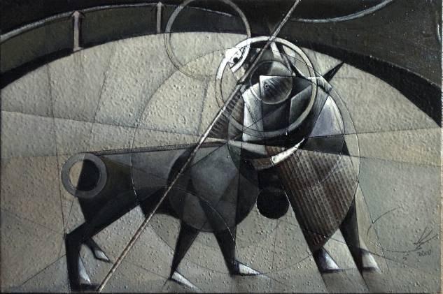 PICADOR DE LA PRADERA Figure Painting Panel Oil