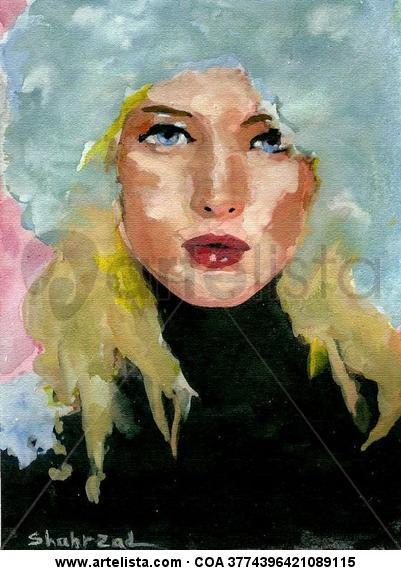 Russian Girl In Ushanka ,Watercolor By Shahrzad Ranji Otros Acuarela Figura