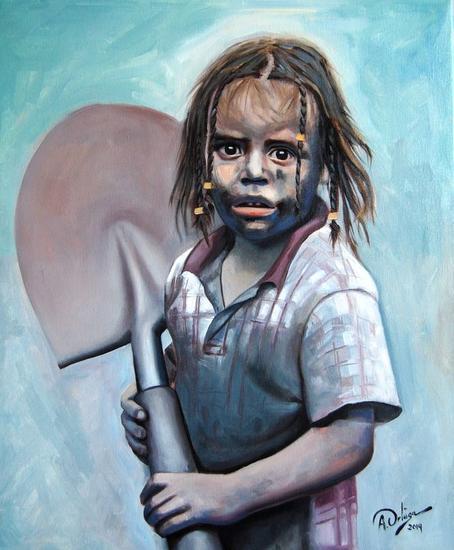 niña con pala Lienzo Óleo Figura
