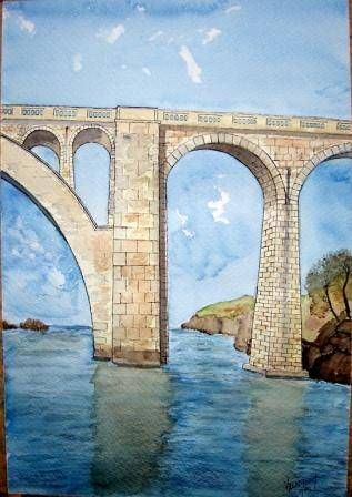 PUENTE DE RUETA Watercolour Glass Landscaping