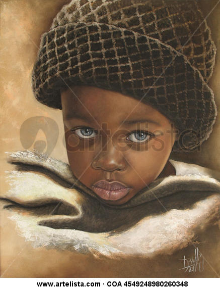 Niño de raza negra 53 Lienzo Óleo Retrato