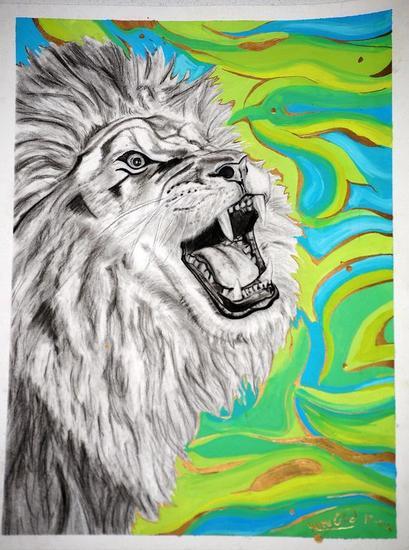 La fuerza del león Animales Grafito Papel
