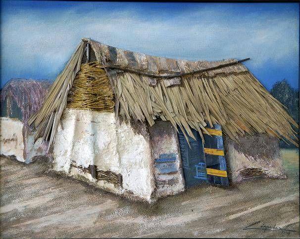 Choza Indigena Media Mixta Lienzo Paisaje