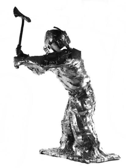 Guerrero en chapa negra Metal Figurativa