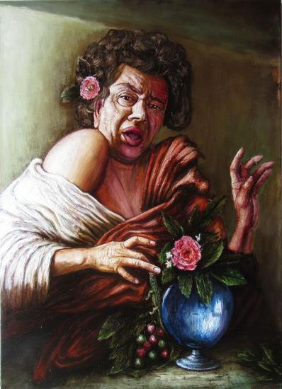 a man bitten by a lizard Canvas Oil Portrait