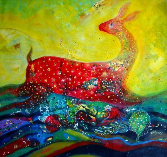 Golden Dream Lienzo Acrílico Animales