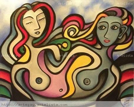 Estudio de dos mujeres enamoradas VI Arte Gay Mundial - Artelista.com