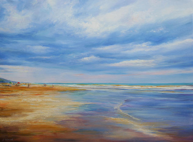 A day at the beach Canvas Oil Landscaping