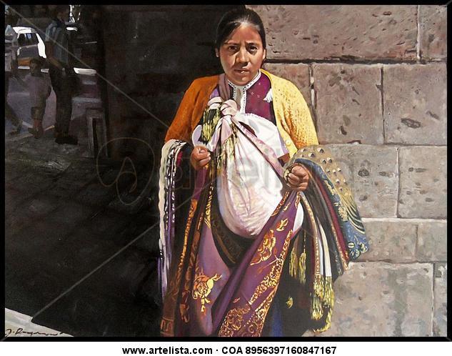 vendedora de telas Retrato Óleo Lienzo