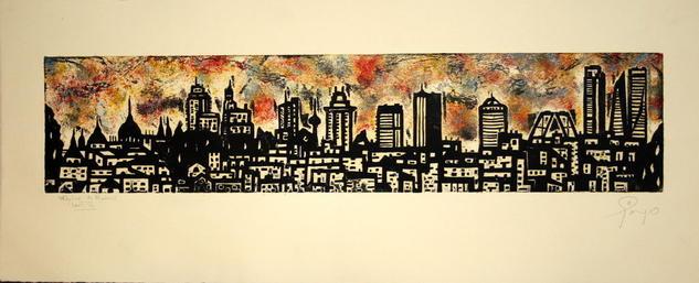 Skyline Madrid Linograbado
