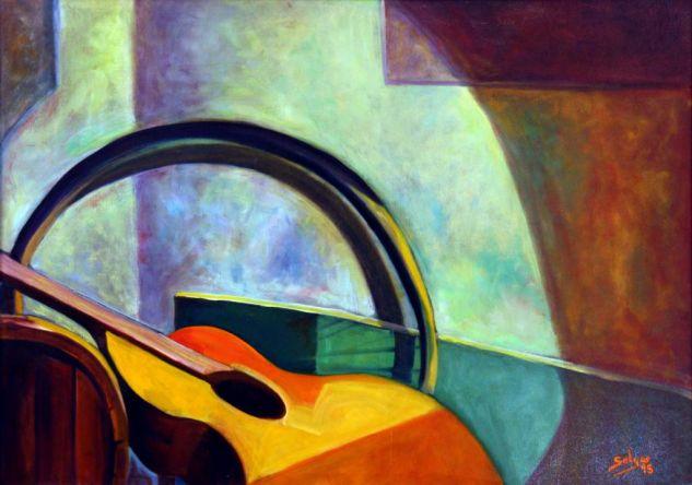 Vino y Guitarra Óleo Tabla Bodegones