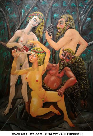 Sátiros e Ninfas conversando Desnudos Óleo Lienzo
