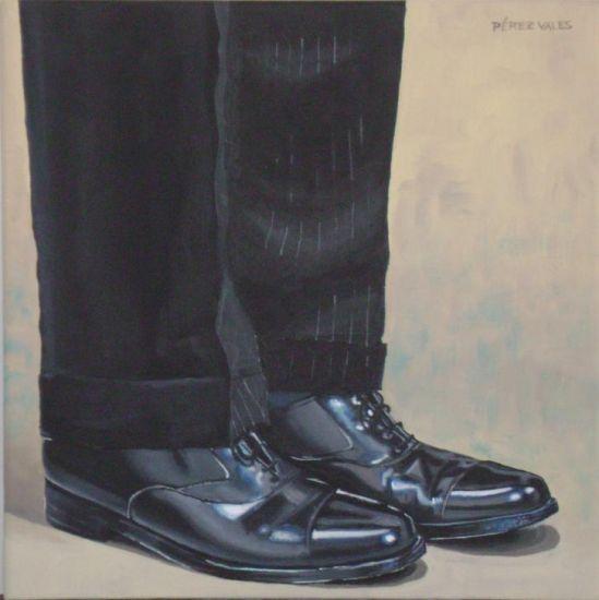 Zapatos negros. Figura Lienzo Acrílico