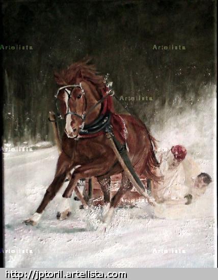 carrera de caballos con trineo