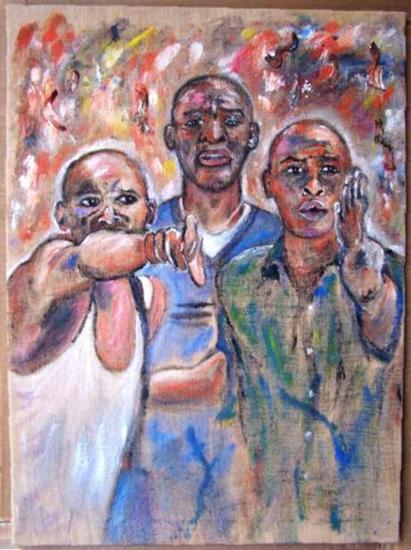 ARDE AFRICA Retrato Acrílico Tela