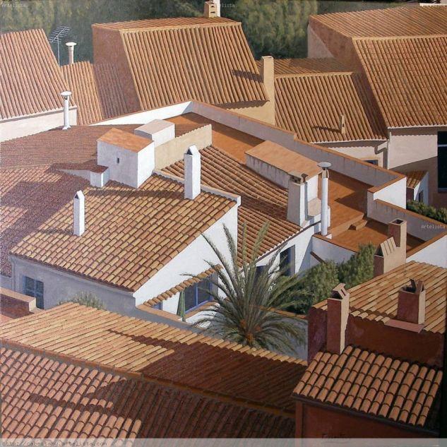 Oasis entre tejados Lienzo Óleo Paisaje