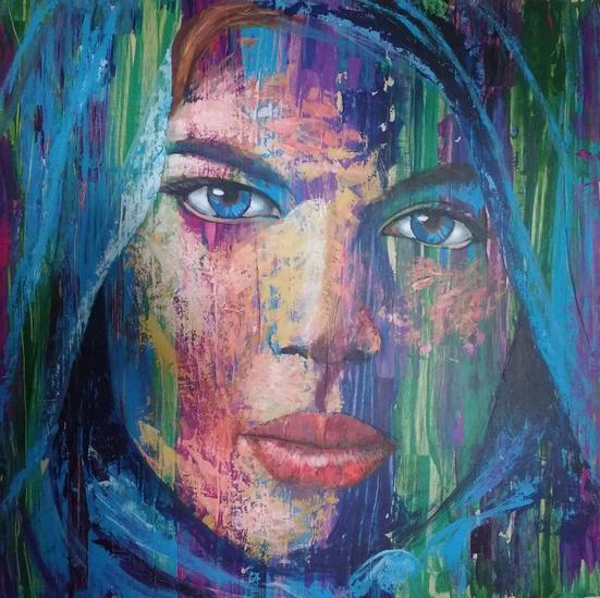Mujer Afgana Retrato Tabla Acrílico