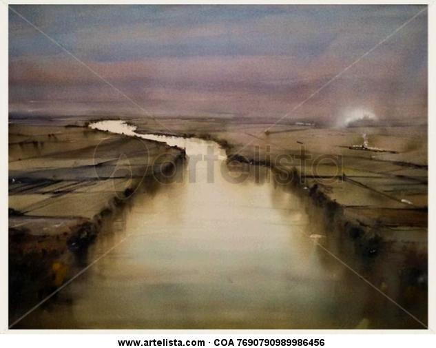 El rio Papel Acuarela Paisaje