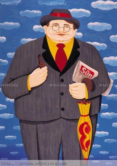 MAN EN LONDRES Gouache Papel Figura