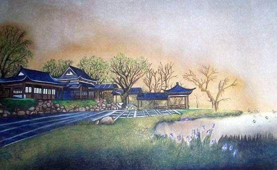Paisaje Oriental Pastel Papel Paisaje