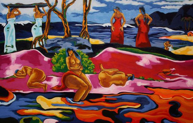 Mahana No Atua (Día de Dios) - Gauguin Figura Acrílico Lienzo