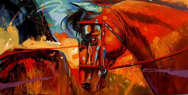 horse blue Lienzo Acrílico Animales