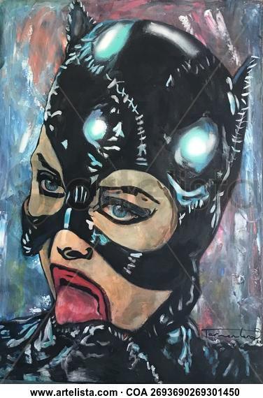Catwoman Portrait Acrylic Canvas